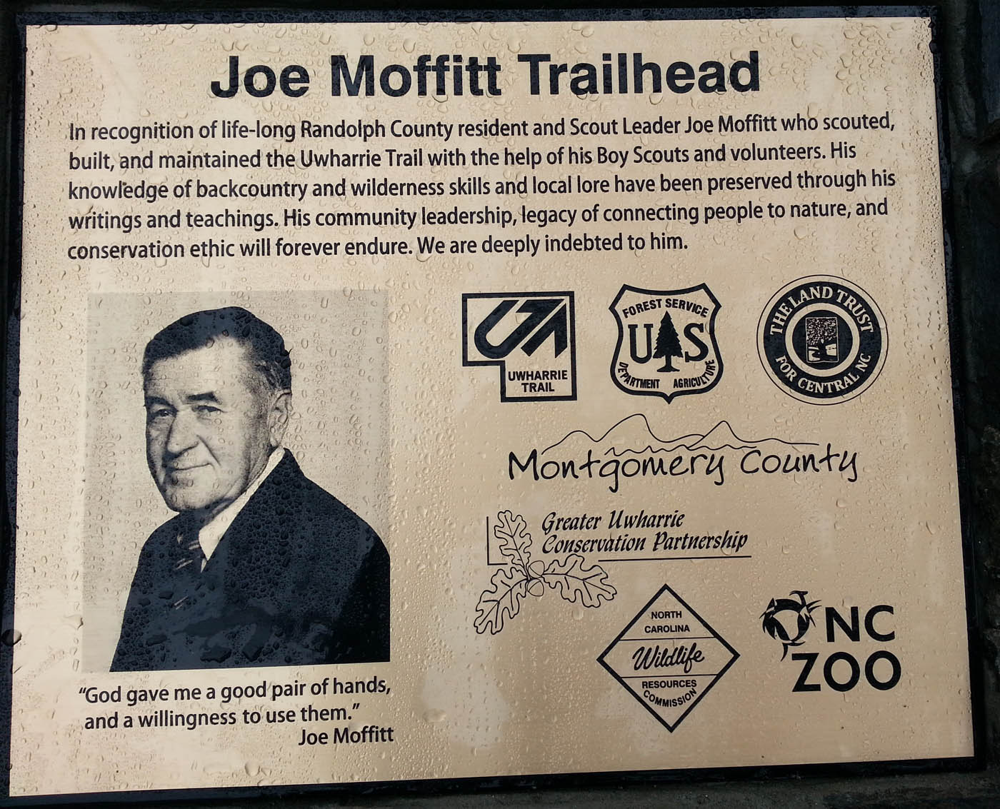 Sign at Joe Moffitt Trailhead on Uwharrie Trail