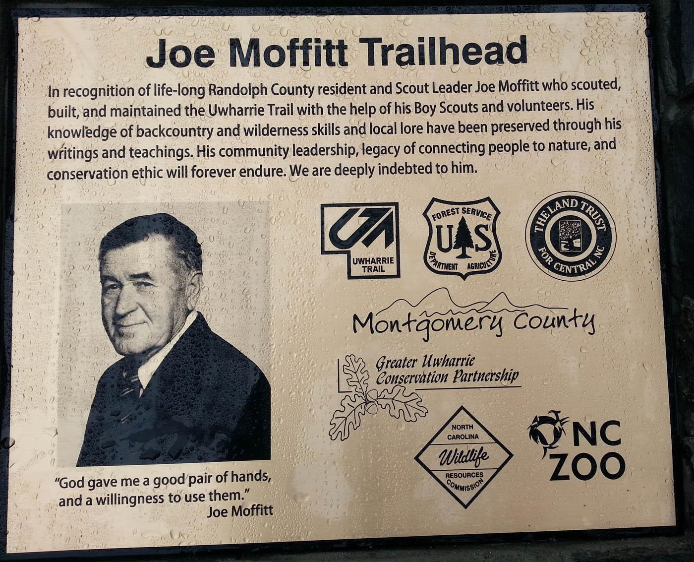 Sign at Joe Moffitt Trailhead on Uwharrie Trail