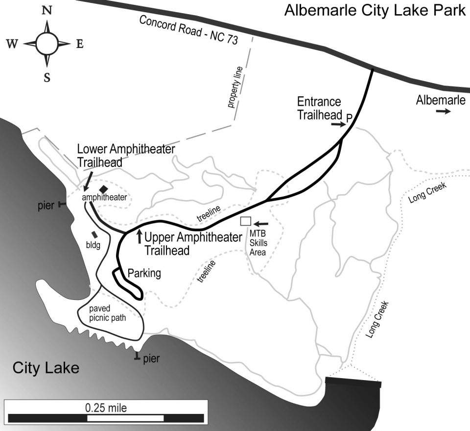Albemarle City Lake Park area map