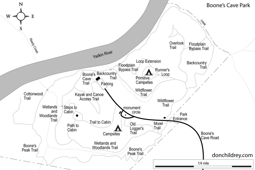 Boone's Cave Park map
